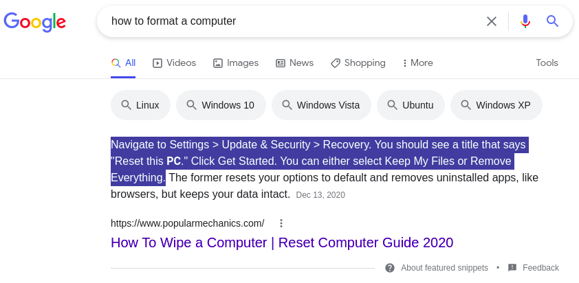 How to format a computer (Google search results)